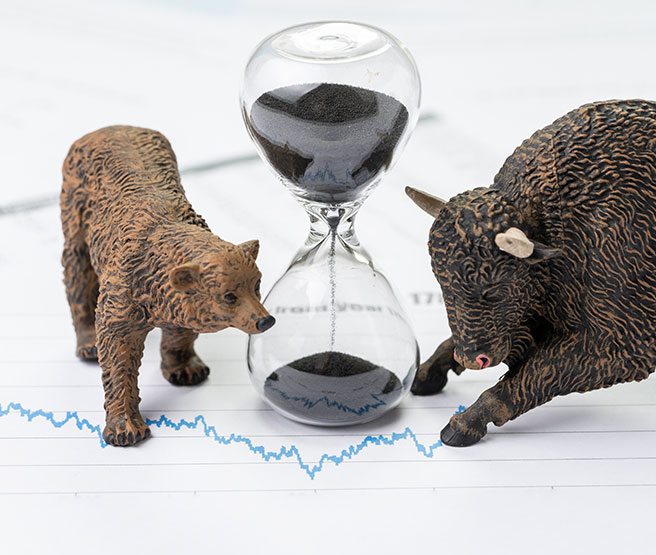 Time counting down to choose between investment bear and bull stock market concept